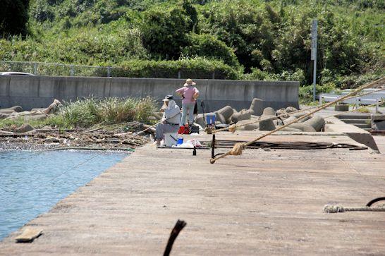 先客的釣り人